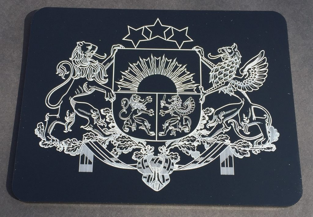 Latvia coat of arms - white color marking on black acryllic