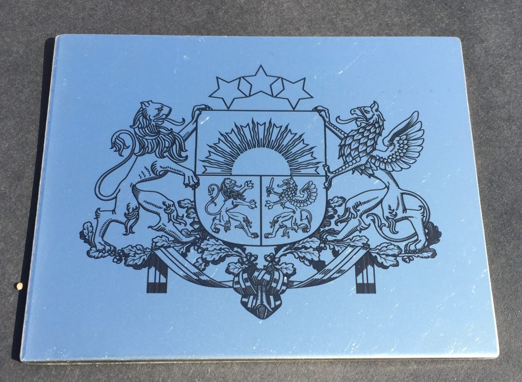 Latvia coat of arms (stainless steel black color laser marking)
